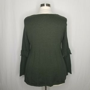 Style & Co Sweaters - Style & Co Green Ruffled Pleated Swing Sweater